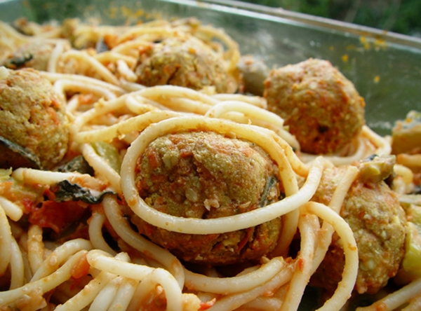 Vegan Spaghetti and Tofu Balls
