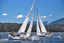J/24s sailing Lago San Roque, Argentina