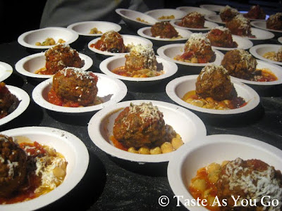 Table of Meatballs at Meatball Madness at the Food Network New York City Wine & Food Festival - Photo by Taste As You Go