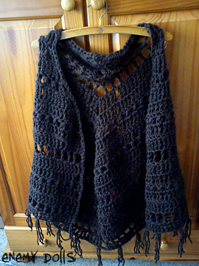 chal ganchillo marrón shawl brown crochet bulky