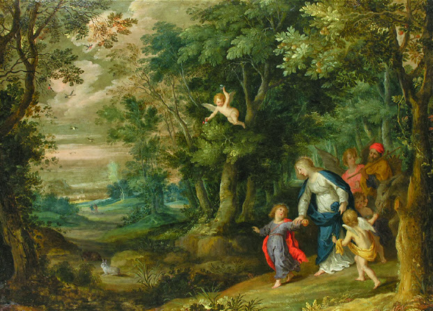Flight into Egypt by Rottenhammer (figures) and Jan Brueghel the Elder (landscape)