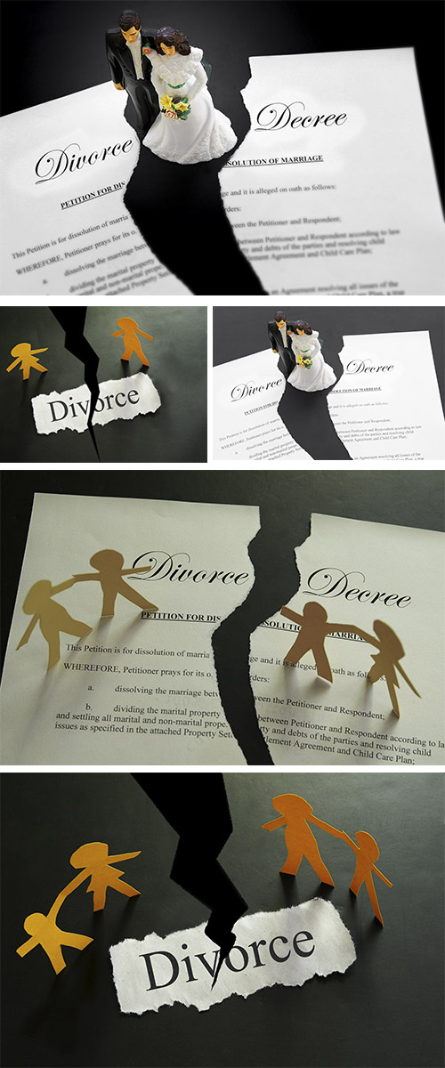 Stock Photo: Divorce decree document and paper family figures