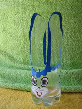 coelhos feitos com garrafas de plástico COELHO+AZ+1