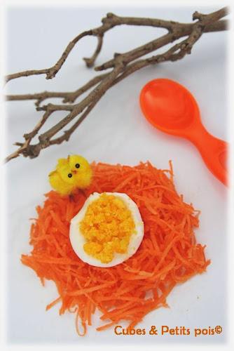 recette bébé pâques nid de carotte et oeuf