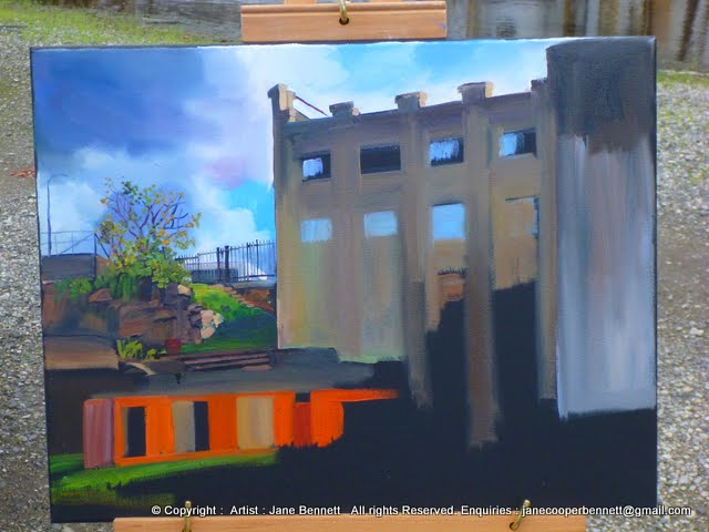 plein air oil painting at the White Bay Power Station by industrial heritage artist Jane Bennett