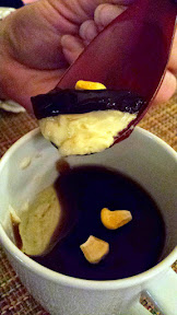 Nodoguro Twin Peaks Dinner theme, One damn good cup of coffee, in the form of Coffee Cup Custard (chawanmushu) with Black Trumpet Gel and freeze dried Corn
