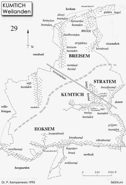 Figuur 13: Weilanden te Kumtich in de 18de eeuw.