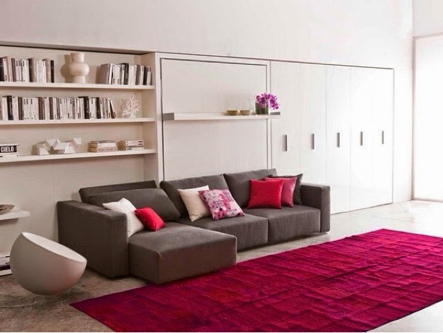 Cama plegable con sofa tipo chaislongue ideal para for Sofas modernos para espacios pequenos