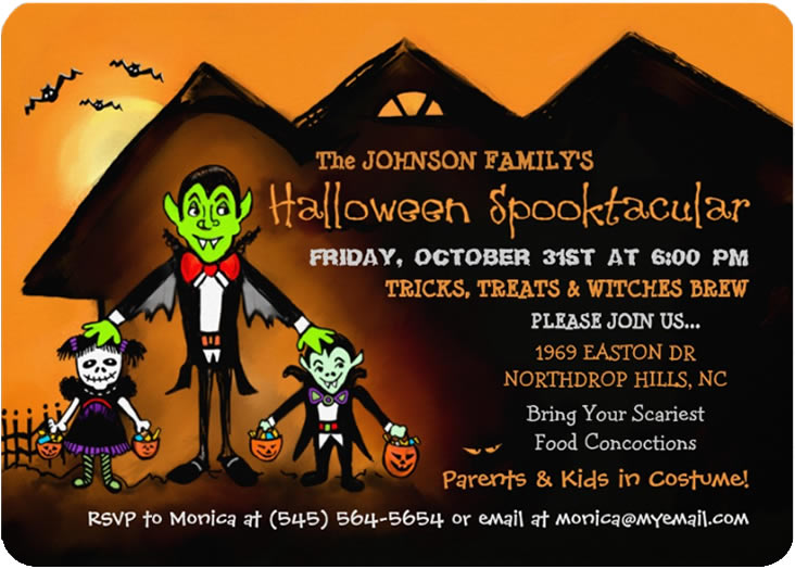HALLOWEEN INVITATIONS Halloween Family Party Dracula Invite – Invitation for Halloween Party