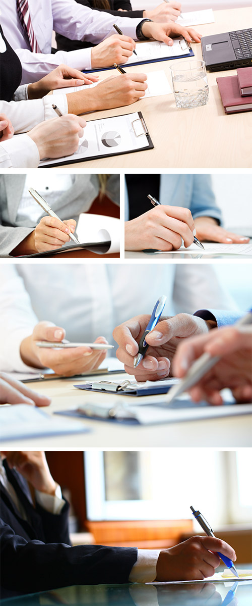 Stock Photo: Business agreement, contract signing, business