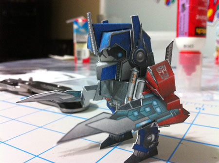 Chibi Optimus Prime Paper Toy