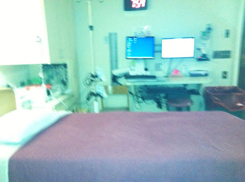 A little blurry, but this is a regular delivery room at Women & Infants