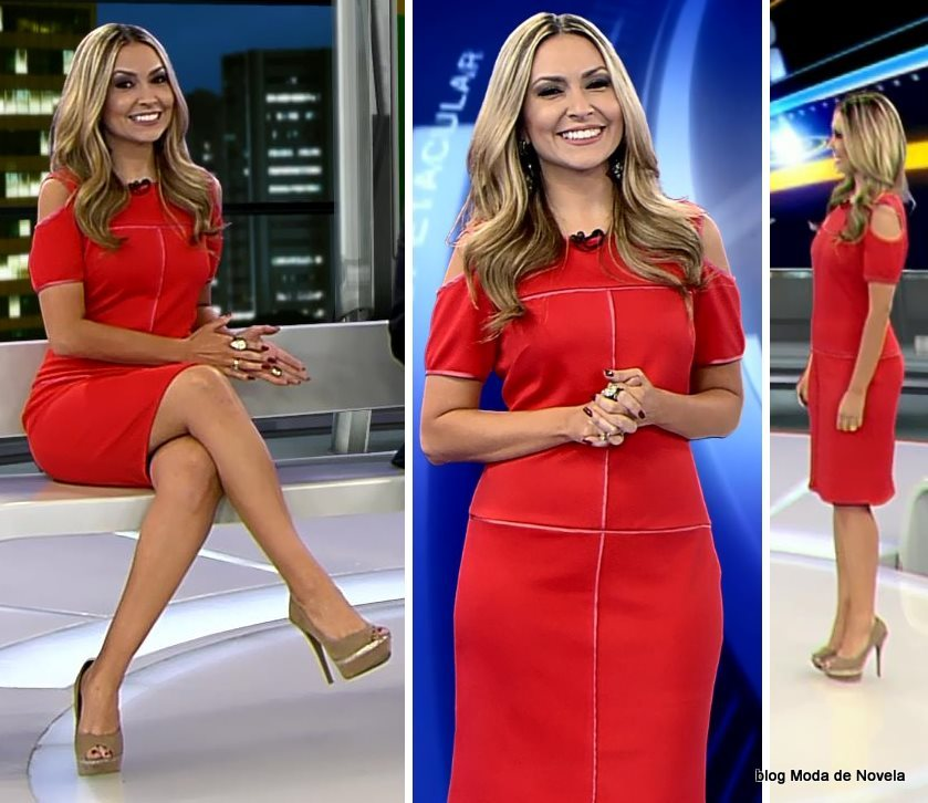moda do programa Domingo Espetacular - look da Thalita Oliveira dia 24 de agosto