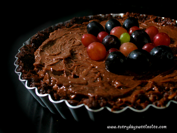 Red and Black Grapes on Tart
