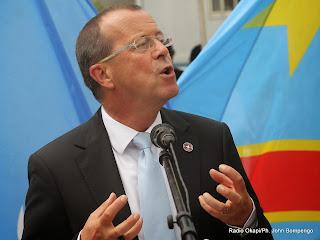 Martin Köbler, représentant spécial du secrétaire général de l'Onu pour la RDC prononçant son allocution lors de la célébration de la journée internationale des casques bleus le 29/05/2014 à Kinshasa. Radio Okapi/Ph. John Bompengo