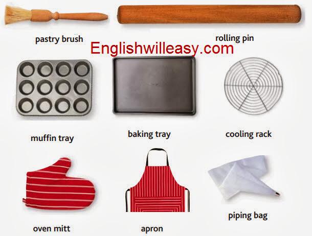 cepillo de pastelería, rodillo, bandeja mufffin, bandeja de hornear, estante de enfriamiento, guante de horno, delantal, bolsa de tuberías