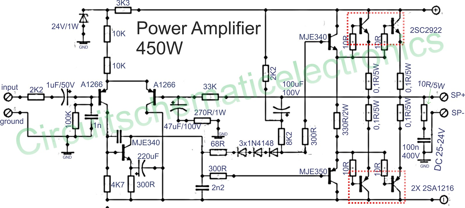 Power amplifier 450W with sanken Electronic Circuit