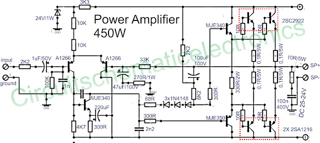 Power amplifier 450W with sanken