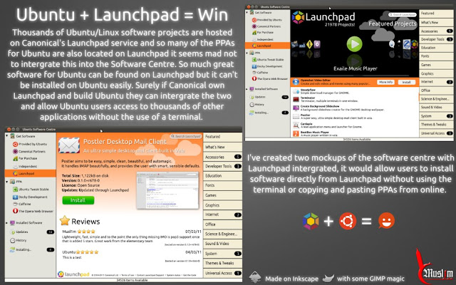 Ubuntu Software Center + Launchpad Mockup