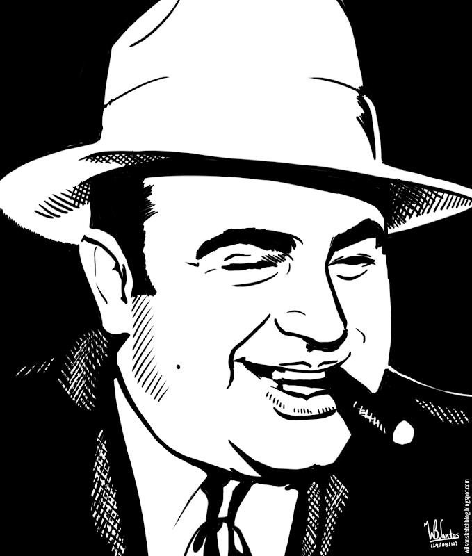 Ink drawing of Al Capone, using Krita 2.4.