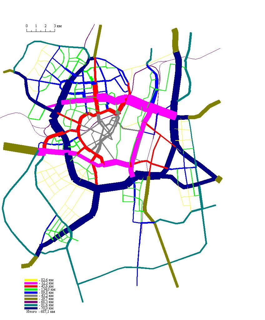 11 А. Рекомендуемый  вариант развития МУДС, совмещенный с картограммой автомобилепотоков по категориям магистралей