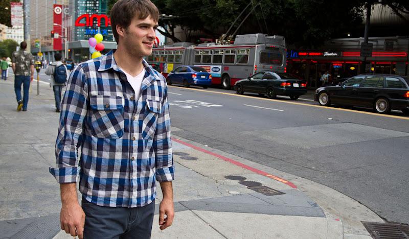 blue flannel front street side metreon