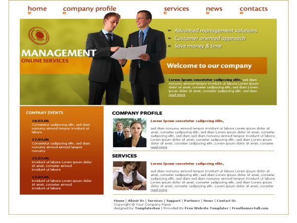 Free Web Template For Online Management Company