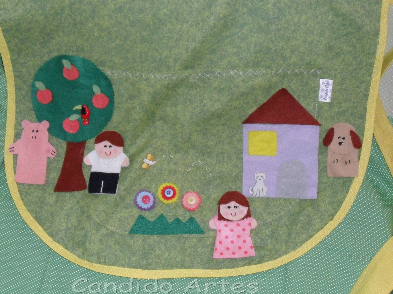 Artesanato Londrina ~ Artesanato Candido Artes Avental para contar histórias