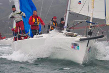 J/105 one-design sailboat- sailing fast off San Diego NOOD regatta