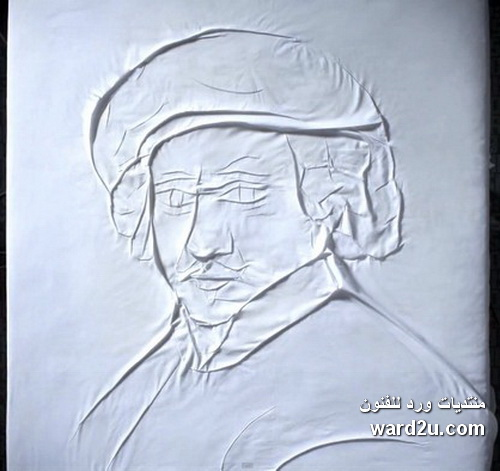 رسم لوحات عالميه بطى القماش