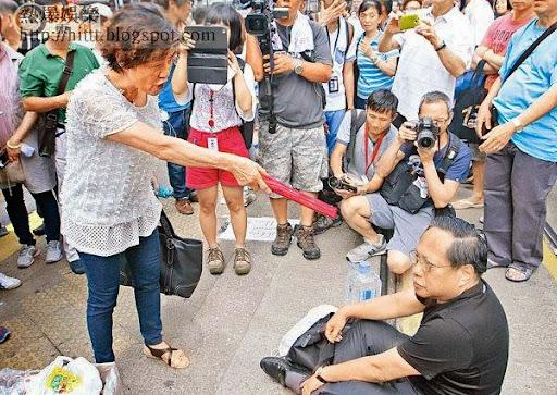 林婆婆指罵有份在街頭靜坐的何俊仁,認為對方教壞學生。