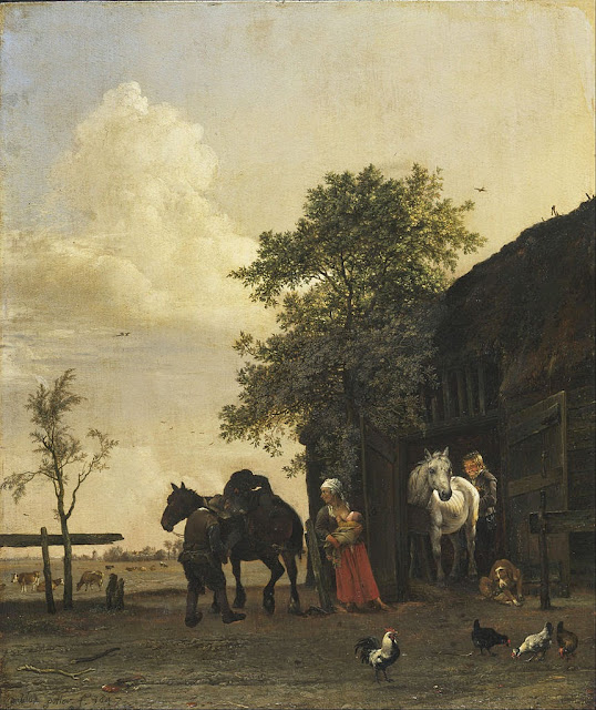 Paulus Potter - Figures with Horses by a Stable - Google Art Project