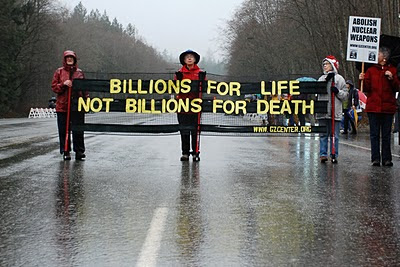 Saturday 15 January 2011 Naval Base Kitsap Bangor Trigger Gate Ground Zero Center for Nonviolent Action Protest Against Nuclear Weapons