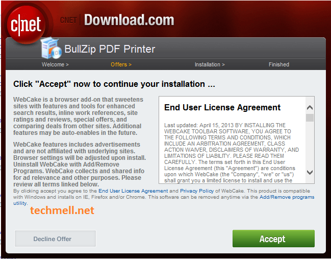 License Agreement for Bullzip PDF Printer in Win 8.1