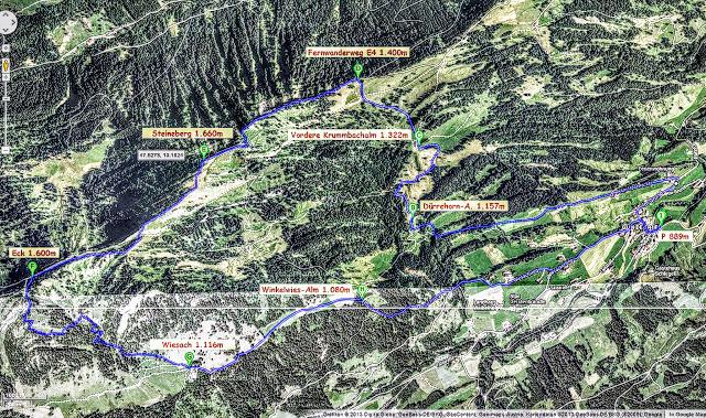 Wanderroute Map Steineberg Allgäu Nagelfluhkette