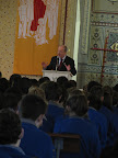 Brother Martin Kennelly speaking to the primary and secondary school pupils of Presentation Miltown