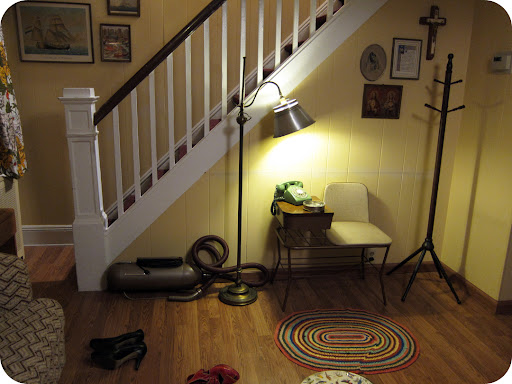 Living room. The telephone table, purchased at Brimfield, was one of the first props bought. We found the phone afterward.