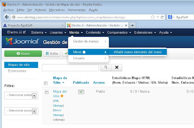 Añadir sección Mapa del sitio (sitemap) a sitio web con Joomla! 3.0