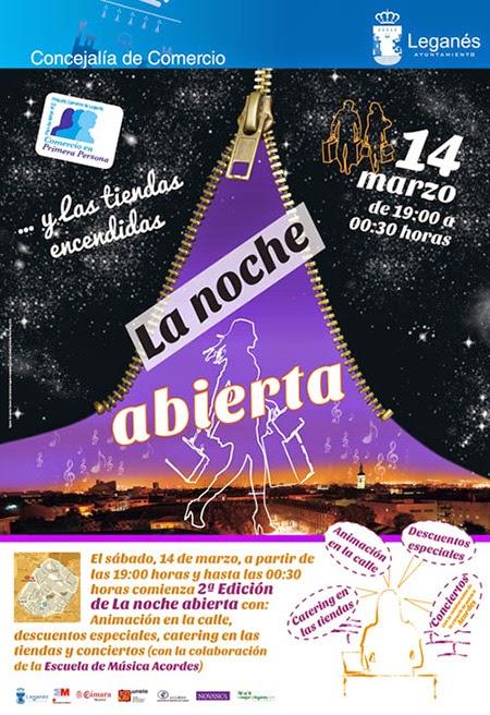 Segunda Edición de La Noche Abierta de Leganés, sábado 14 de marzo 2015