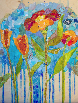 Wildflowers. 12x16, collage of hand-painted papers on panel, CURRENTLY FEATURED AS CANVAS REPRODUCTION IN PIER ONE IMPORTS