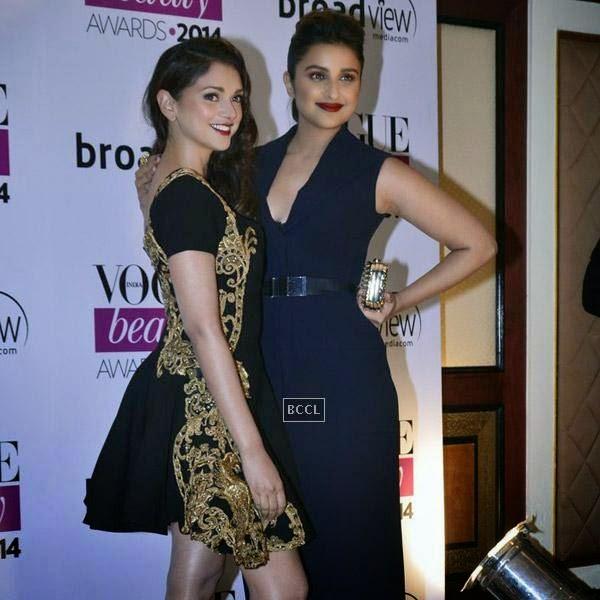 Aditi Rao Hydari and Parineeti Chopra pose together during Vogue Beauty Awards 2014, held at Hotel Taj Lands End in Mumbai, on July 22, 2014.(Pic: Viral Bhayani)