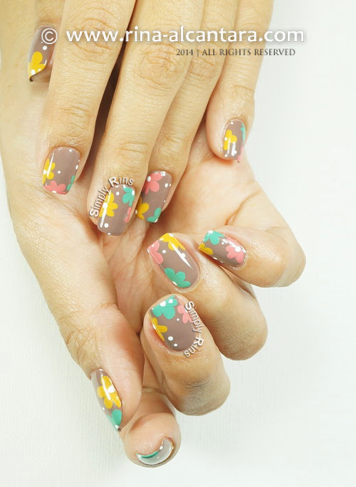 Floral Pastel on Nude Nail Art by Simply Rins