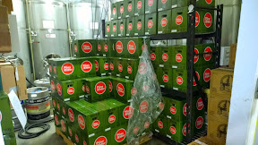 Pliny the Elder in cases at the back room (staff took photo for us) at Russian River Brewing Company in Santa Rosa, CA