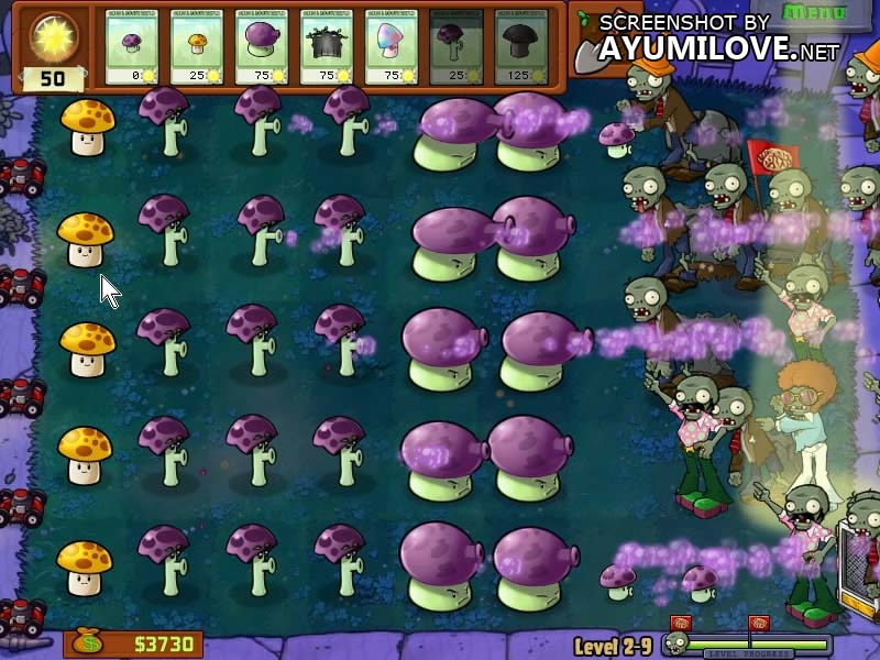 Plants vs Zombies Stage 2-9 Layout