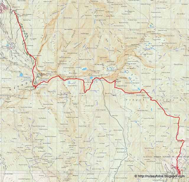 Mapa Hoya de la Mora - Mulhacén - Trevélez