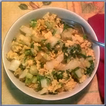 stir fry vegetables with eggs - finished dish