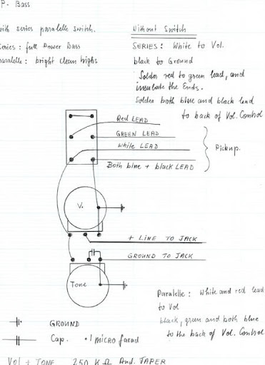 help p bass pickup p 46 install tribulations lotsa pics first thing i noticed is that there are a lot more wires under the pickguard between the pots etc than are shown in the diagrams i ve seen