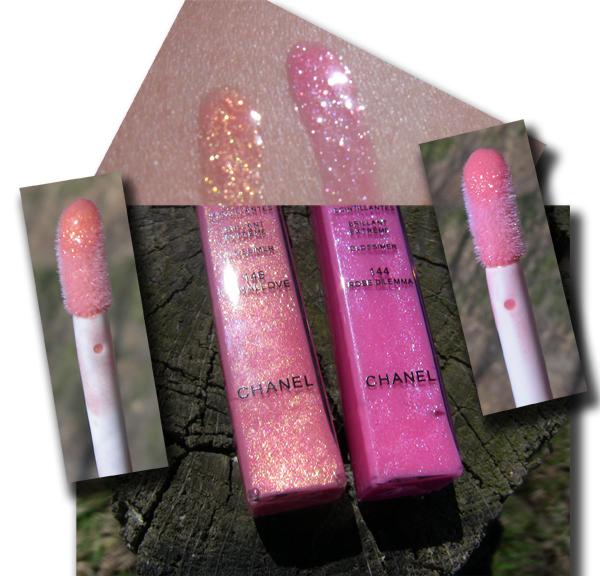 Chanel Levres Scintillantes Glossimer 144 Rose Dilemma и 146 Coral Love - сравнительный свотч