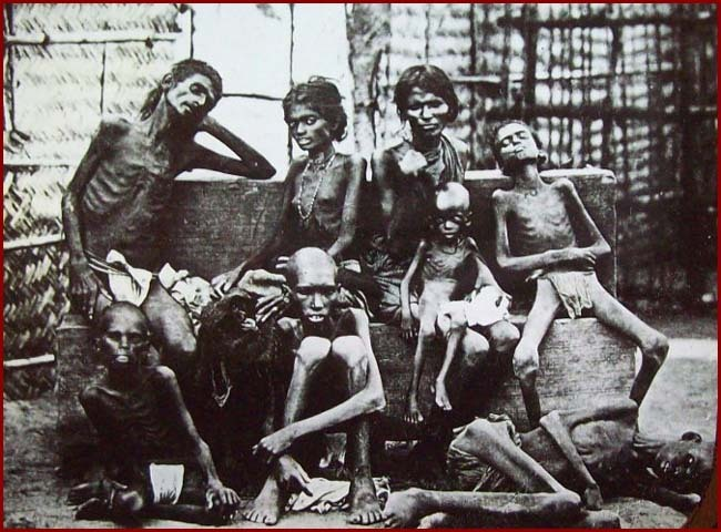 Indian Famine Sufferers Magic Lantern Slide - 1880's