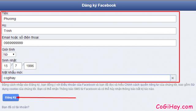 gửi yêu cầu đăng ký nick facebook